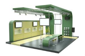 Konventionelle Messebauten werden nach genauen Vorgaben des Kunden entworfen und ausgearbeitet und sind damit Einzelstücke.